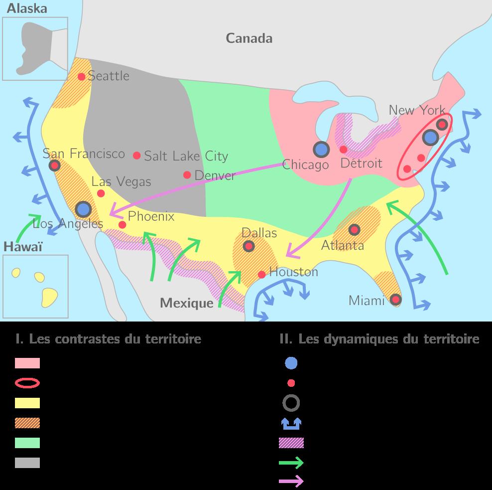 L'organisation du territoire des États-Unis
