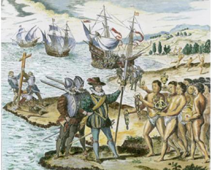 La rencontre entre Christophe Colomb et les Indiens de Guanahani (San Salvador)