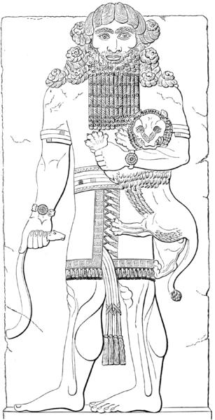 Izdubahr (Gilgamesh) étranglant un lion