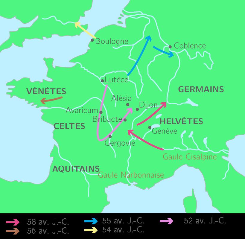 Les étapes de la conquête de la Gaule