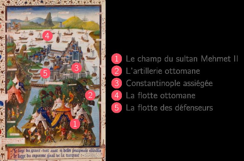 Le siège de Constantinople (enluminure de l'atelier Mielot, 1455)