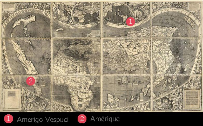 """La première mention du toponyme """"America"""" sur la mappemonde de Martin Waldseemüller (1507)"""