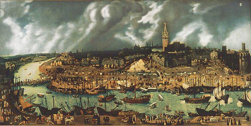 Le port de Séville à la fin du XVIe siècle (tableau attribué à Alonso Sánchez Coello, fin du XVIe siècle)