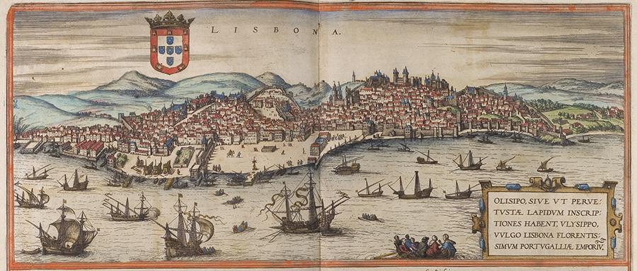 Le port de Lisbonne à la fin du XVIe siècle (atlas de Georg Braun et Frans Hogenberg, 1572)