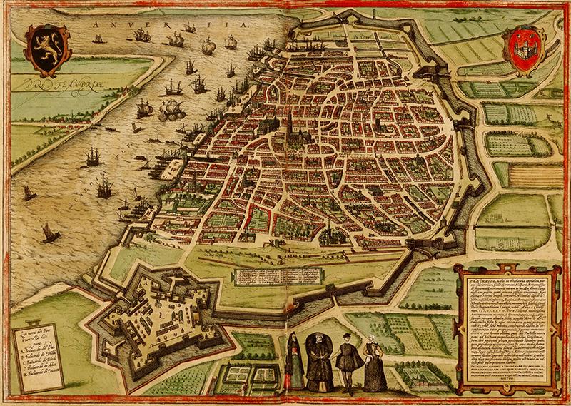 Le port d'Anvers à la fin du XVIe siècle (atlas de Georg Braun et Franz Hogenberg, 1572)