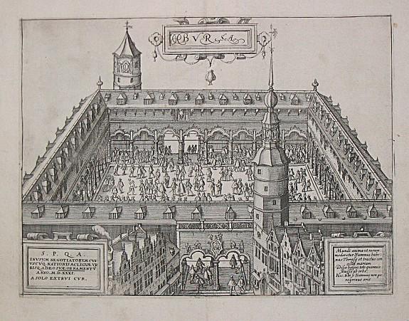 """La """"nouvelle bourse"""" d'Anvers (gravure de Pierre Van der Borcht, 1567)"""