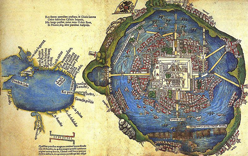 Plan de la ville de Mexico, construite sur les ruines de Tenochtitlan (par P. Savorgnano, 1524)