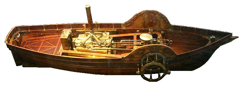 """Maquette du premier bateau à vapeur, le """"pyroscaphe"""" du marquis de Jouffroy d'Abbans (1774)"""