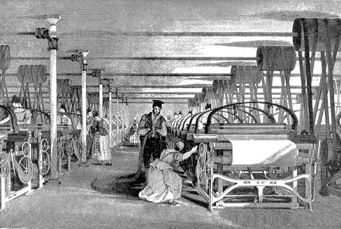 Une usine de tissage en Angleterre (1835)