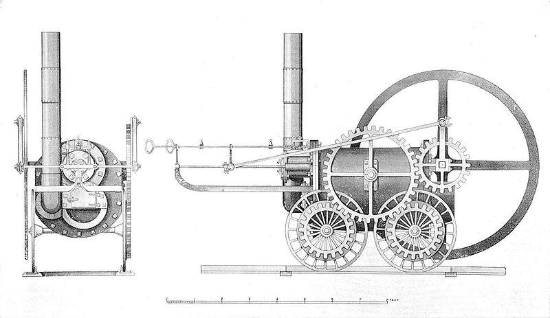 """Le """"cheval de fer"""" de Richard Trevithick, première locomotive"""