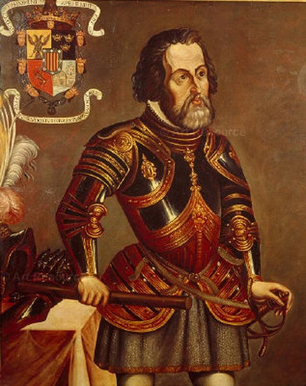 Portrait d'Hernán Cortés, un exemple de conquistador