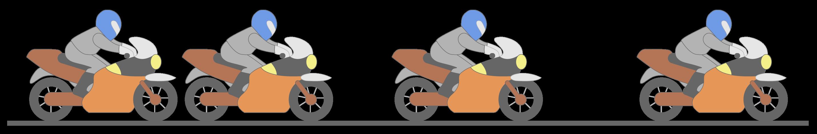 Trajectoire rectiligne d'une moto