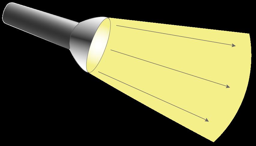Rayons lumineux émis par une lampe torche