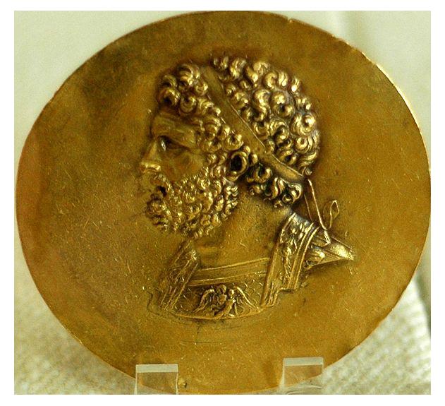 Effigie de Philippe II sur une pièce de monnaie