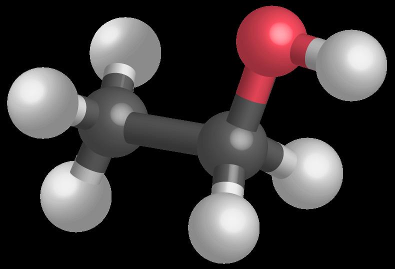 Modèle moléculaire de l'éthanol, permettant d'établir sa formule développée