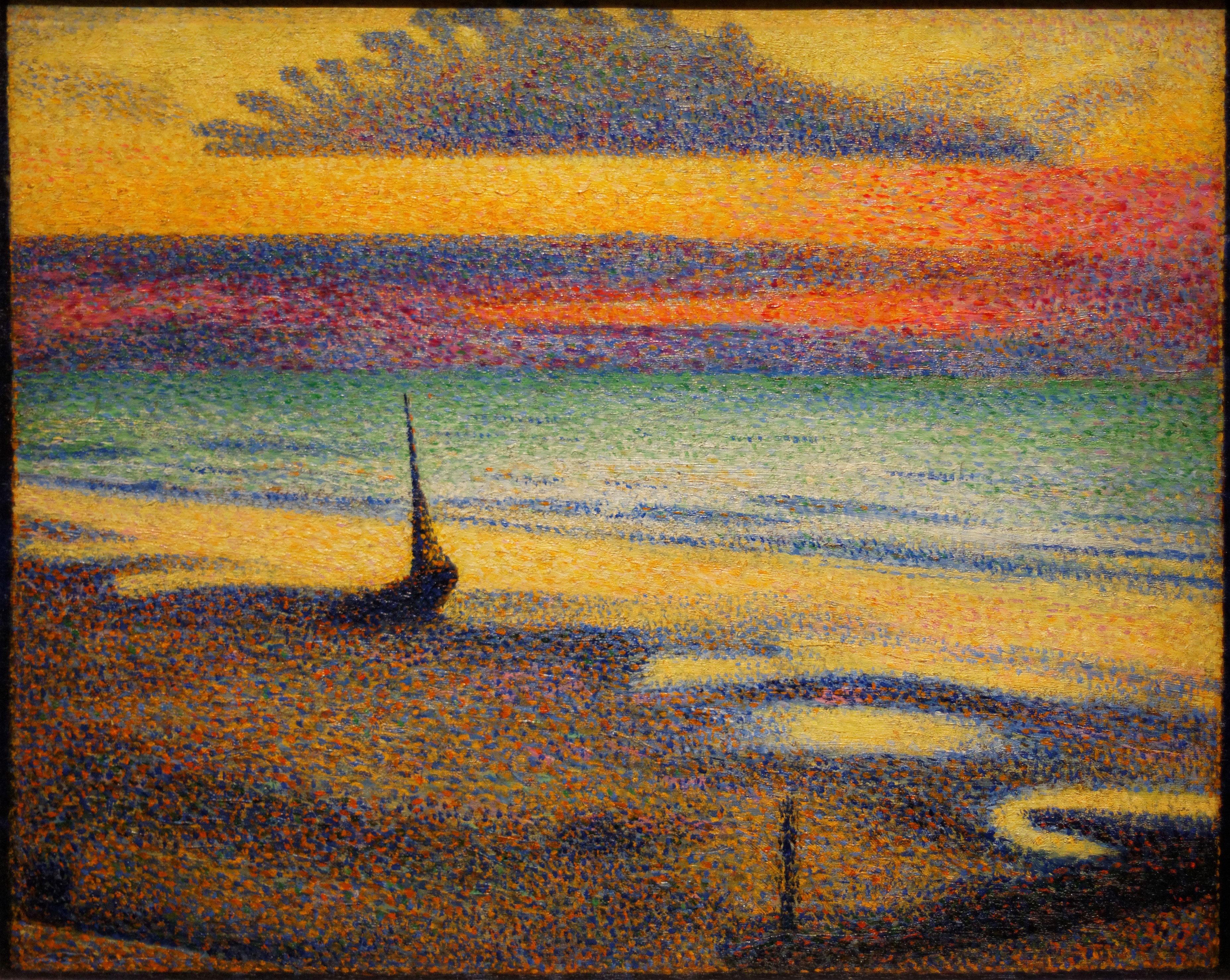 Plage à Heist de Georges Lemmen, tableau employant la technique du pointillisme