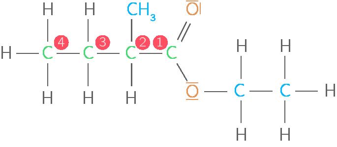 Formule développée du 2-méthylbutanoate d'éthyle