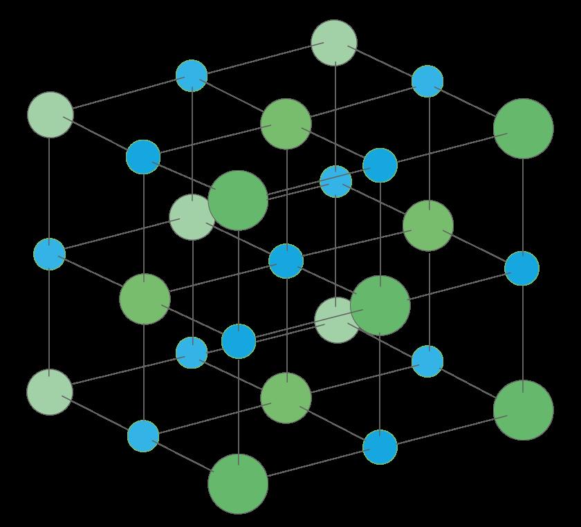 Cristal de chlorure de sodium \(\displaystyle{\ce{NaCl_{(s)}}}\) composé d'ions sodium \(\displaystyle{\ce{Na^{+}}}\) (en bleu) et d'ions chlorure \(\displaystyle{\ce{Cl^{-}}}\) (en vert)