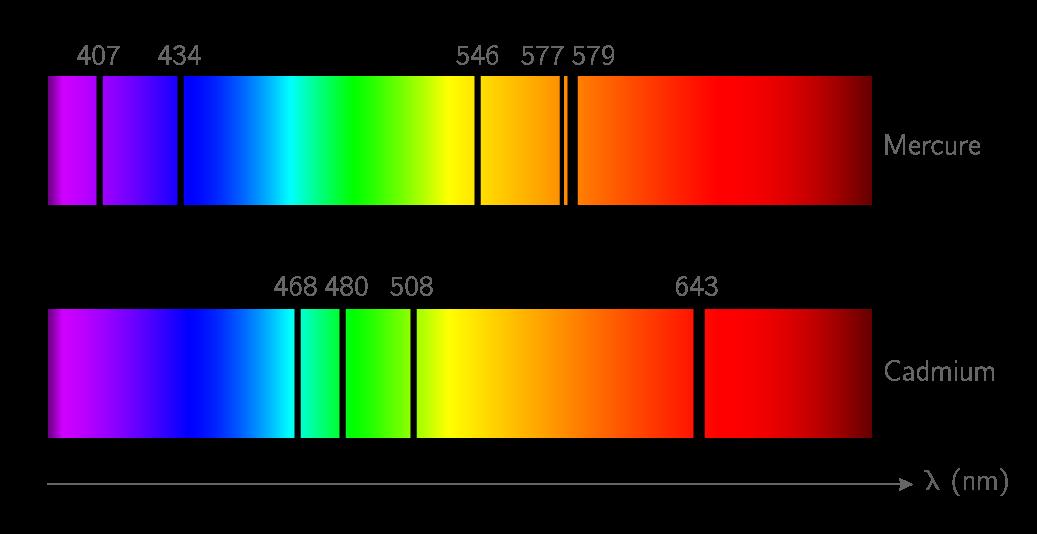 Spectres de raies d'absorption des éléments mercure et cadmium