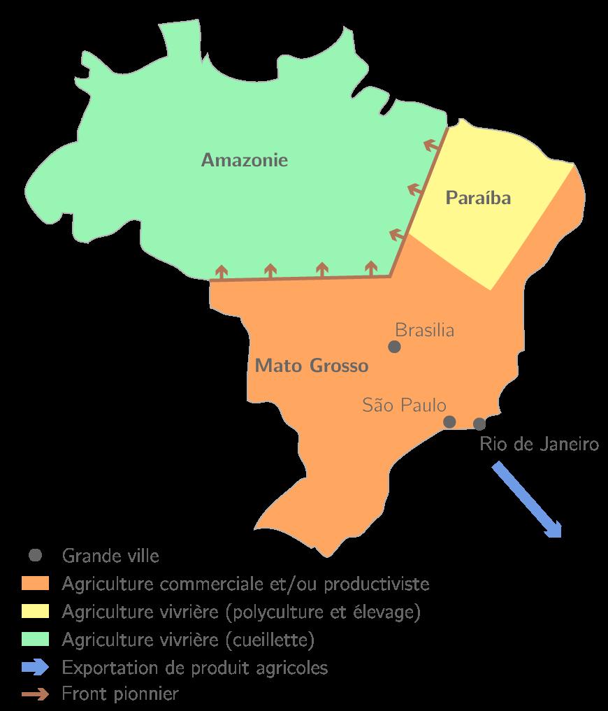 Carte Du Bresil Agriculture.Le Bresil 5e Etude De Cas Geographie Kartable