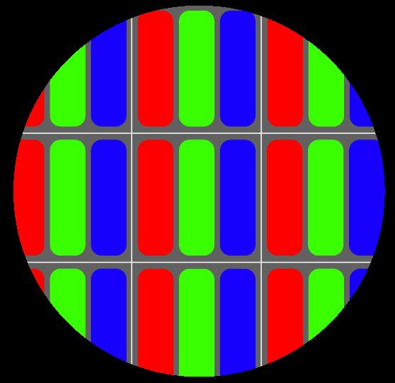 Zoom sur quelques pixels d'un écran LCD