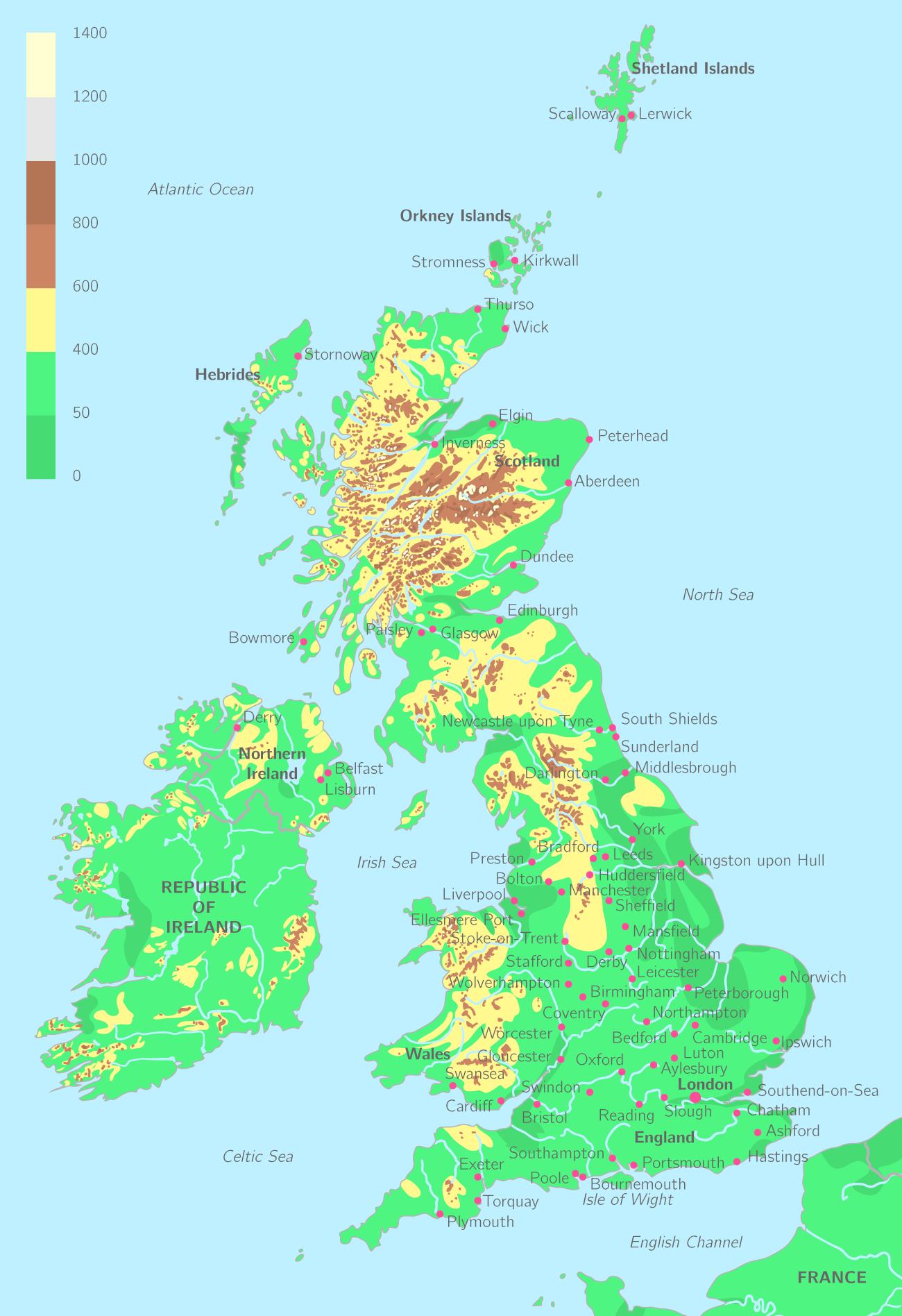Carte topographique du Royaume-Uni