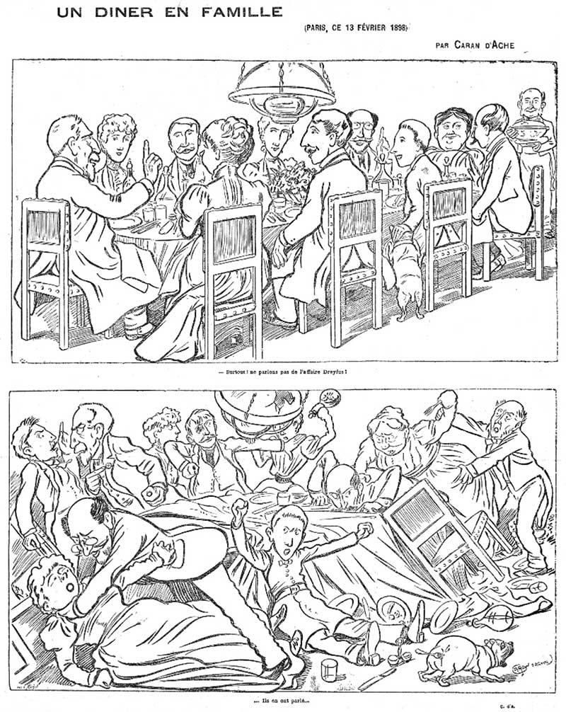 Un dîner en famille, dessin de Caran d'Ache dans le Figaro du 14 février 1898