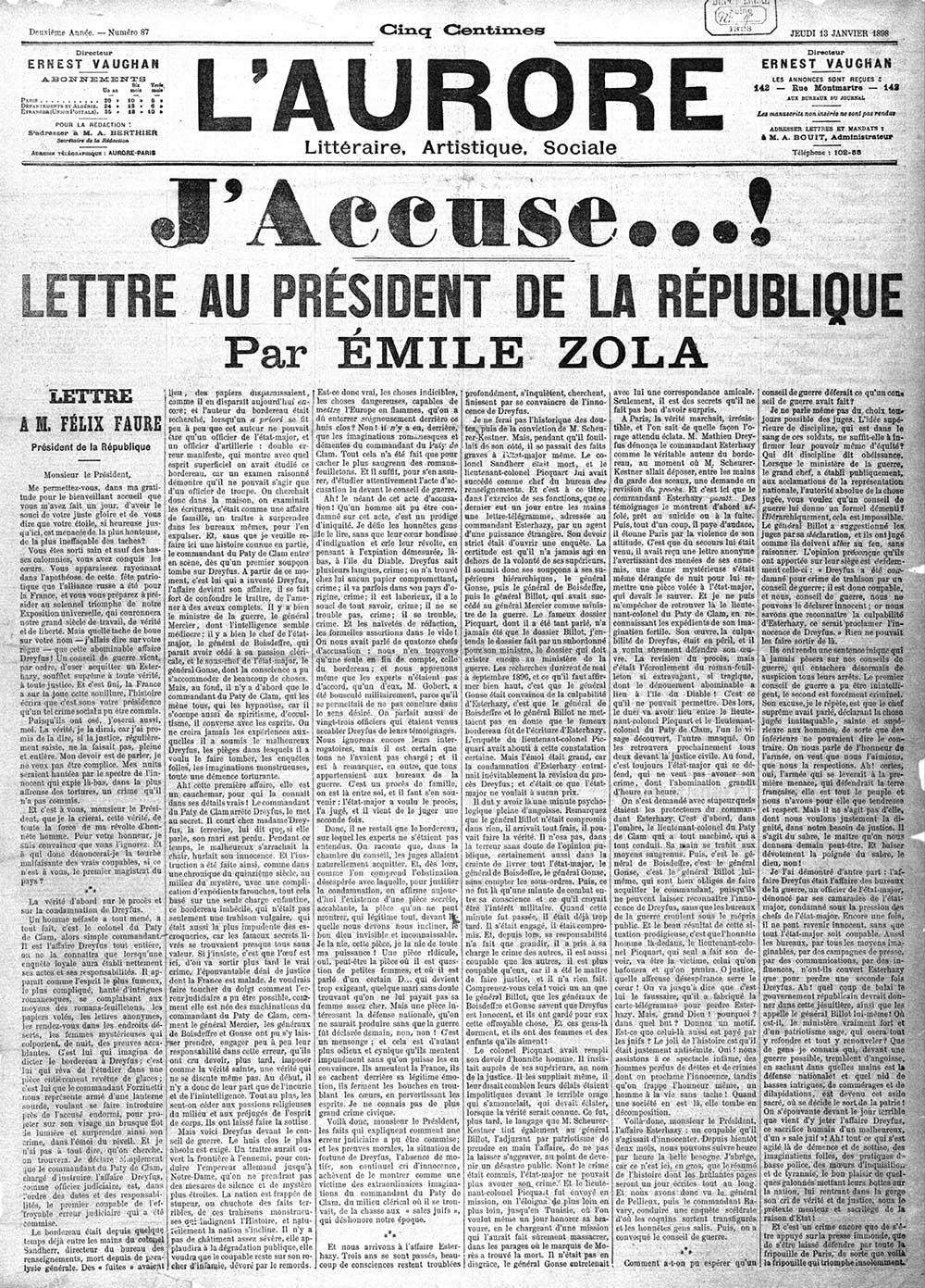 """""""J'accuse"""" de Zola, le 13 janvier 1898"""