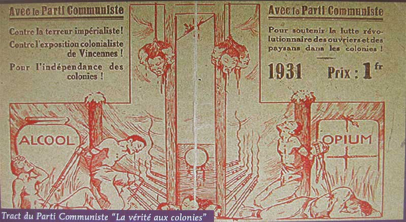 Tract du Parti communiste français contre l'exposition coloniale en 1931