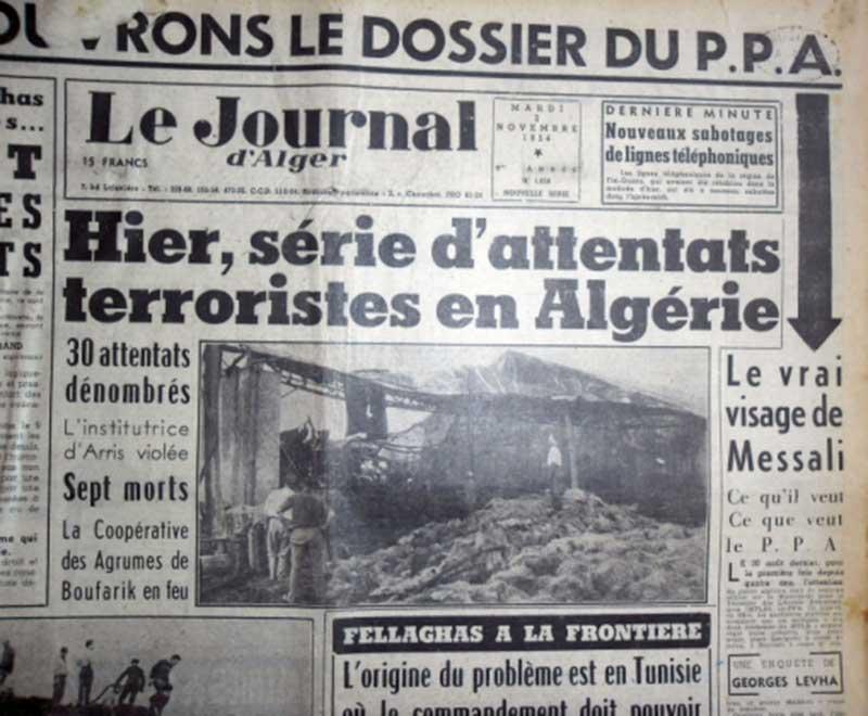 La une du Journal d'Alger au lendemain de la Toussaint rouge