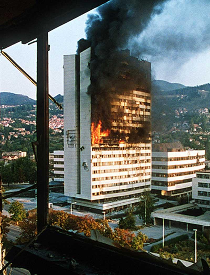 Incendie du Parlement de Sarajevo