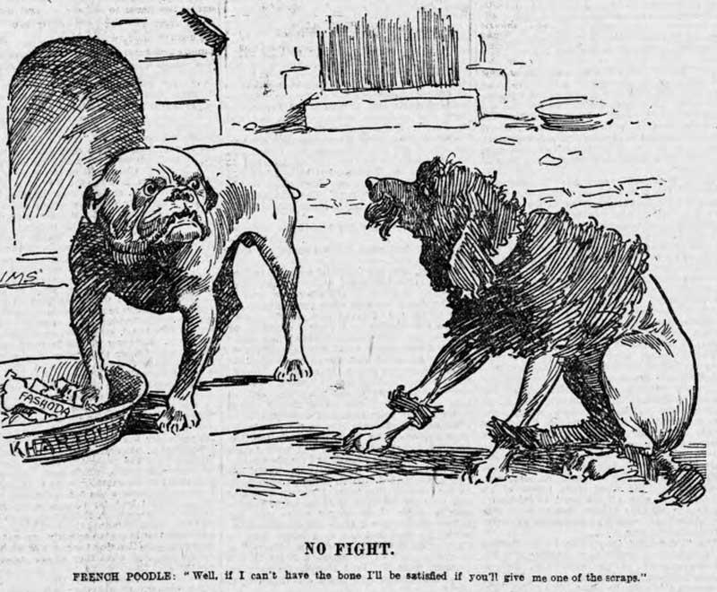 """La crise de Fachoda vue par un journal anglais : """"Peuple français : Eh bien, si je ne peux pas avoir l'os, je serai satisfait si vous me donnez les restes"""""""