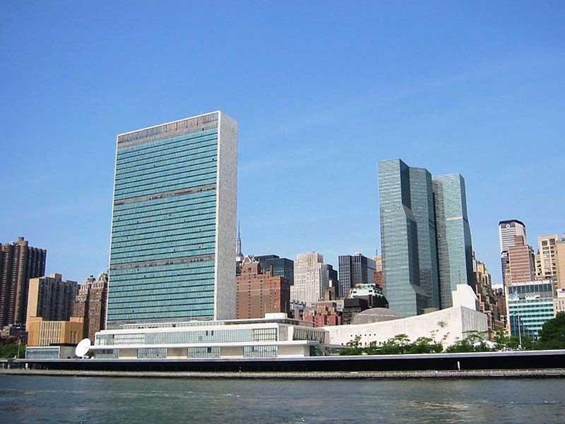 Le siège des Nations unies à New York (premier plan)