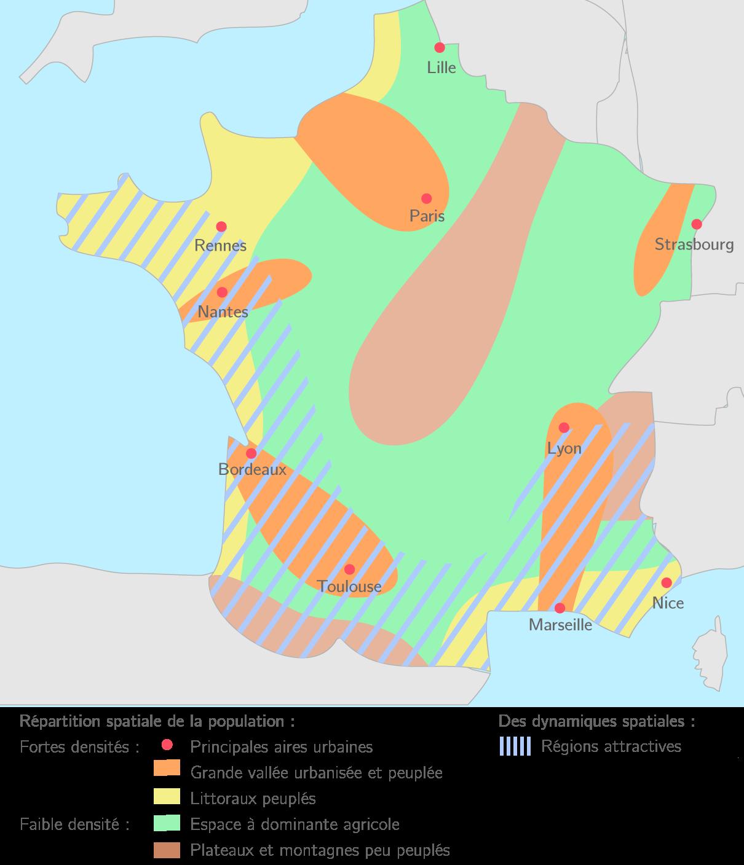 La Répartition De La Population Française 1s Carte