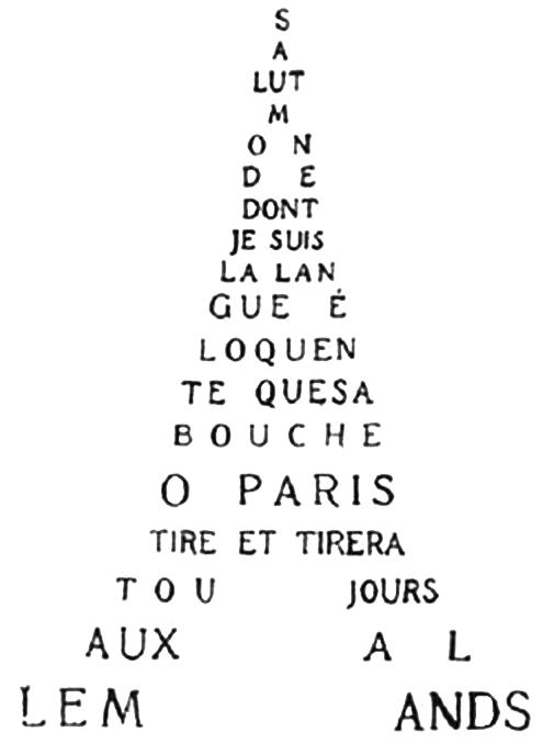 Calligramme de Guillaume Apollinaire intitulé Tour Eiffel