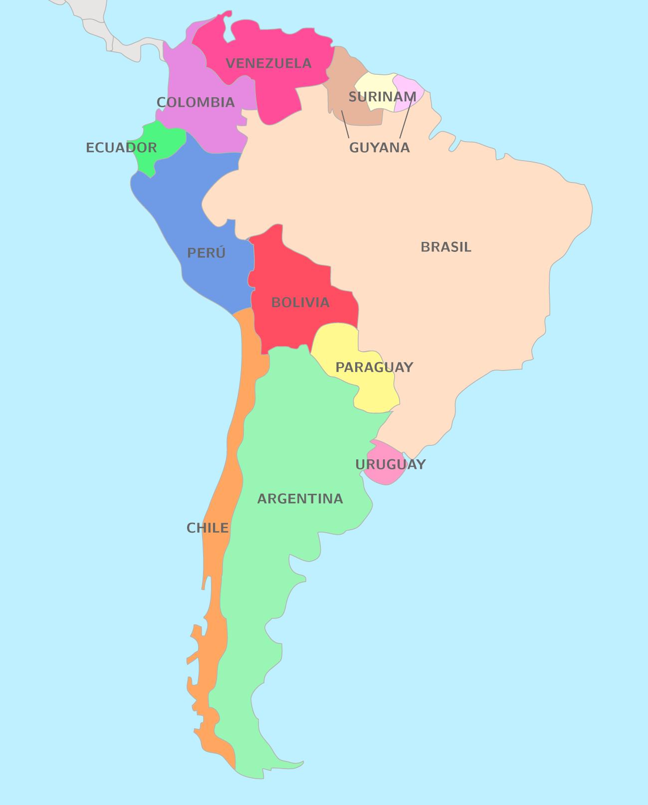 Carte Amerique Latine Et Centrale.L Amerique Latine Ts Cours Espagnol Kartable