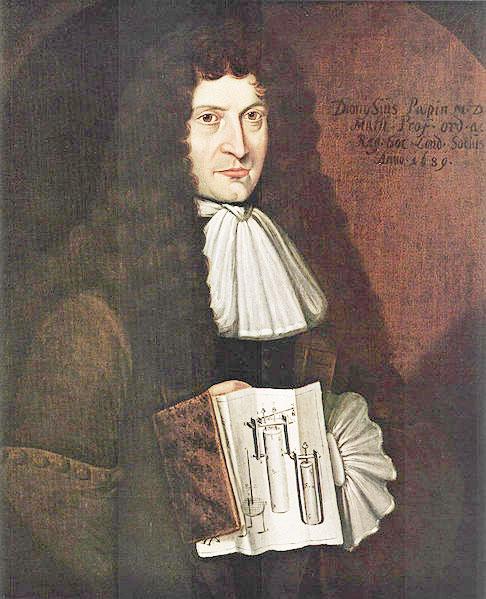 Portrait de Denis Papin tenant les plans d'une de ses inventions
