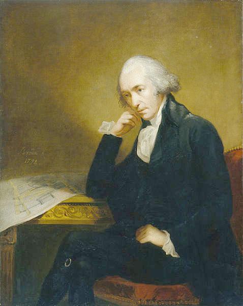 Portrait de James Watt devant les plans de sa machine à vapeur