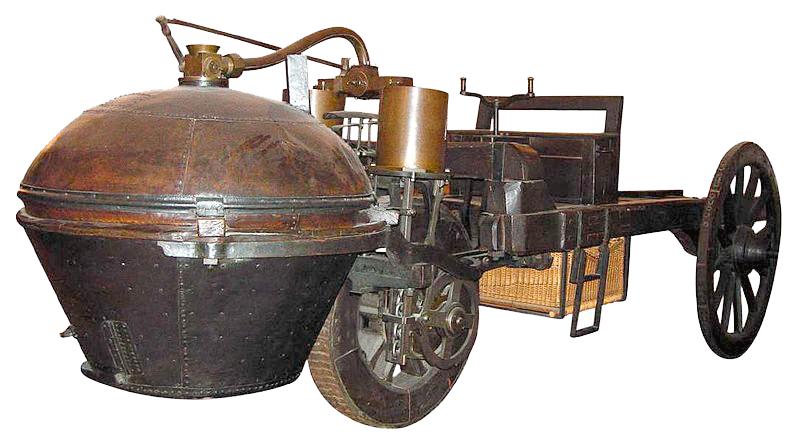 """Le """"fardier"""" de Cugnot, premier véhicule automobile (1771)"""
