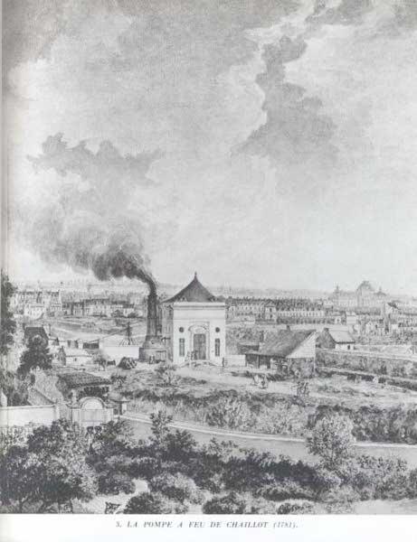 """La """"pompe à feu"""" de Chaillot à Paris, en 1781"""