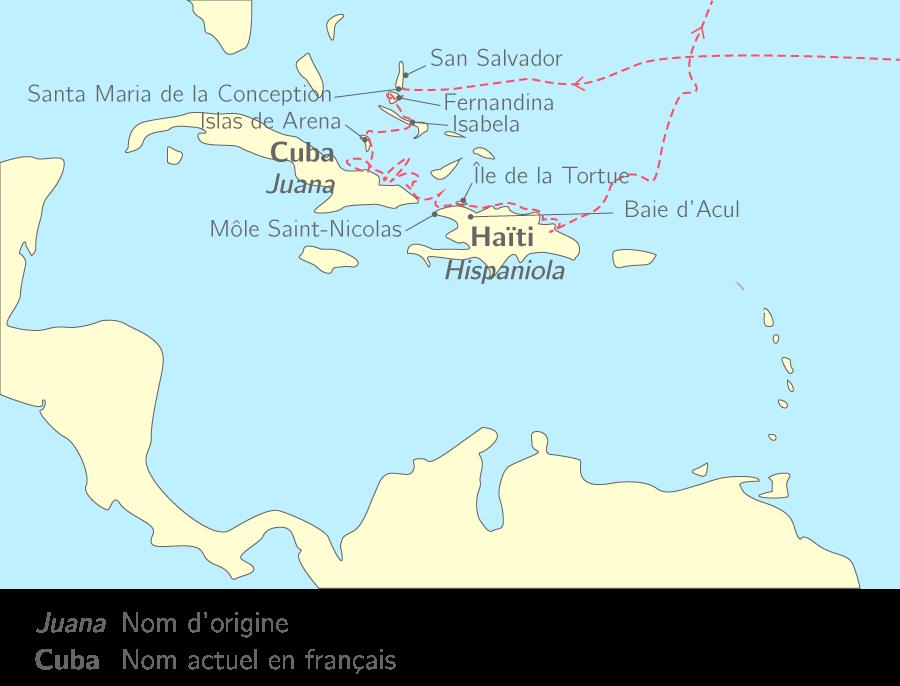 Le premier voyage de Christophe Colomb dans l'archipel des Caraïbes
