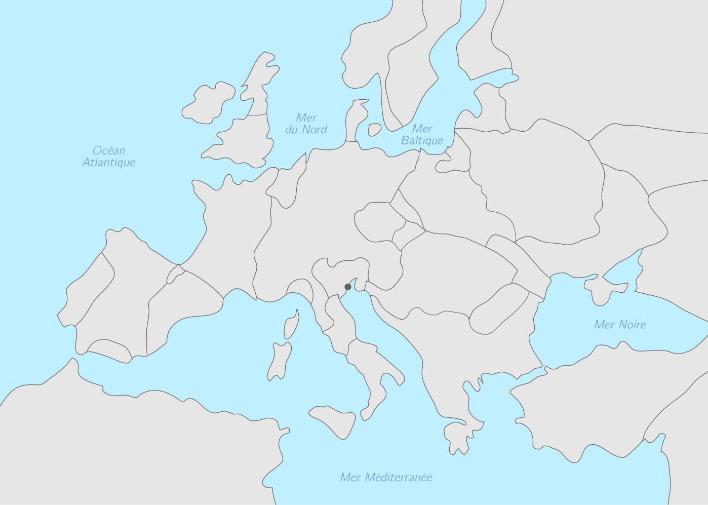 Compléter la carte l'Europe à la fin du Xve siècle   Exercice