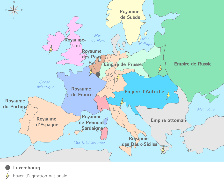 Carte De Leurope Sous Napoleon.L Europe En 1815 4e Cours Histoire Kartable