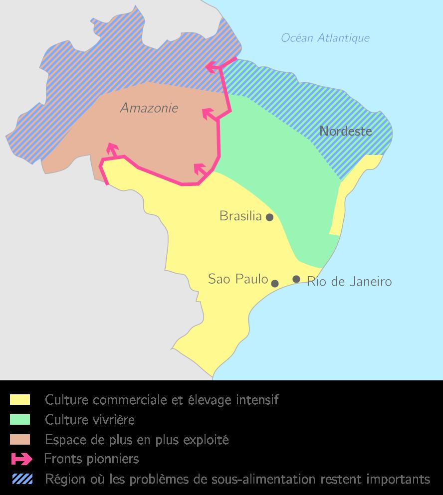 Carte Du Bresil Agriculture.Le Bresil 2nde Etude De Cas Geographie Kartable