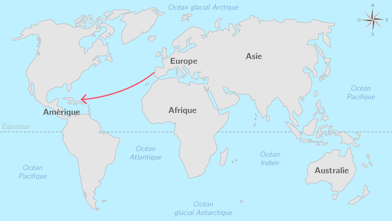 Le premier voyage de Christophe Colomb et la découverte de l'Amérique en 1492