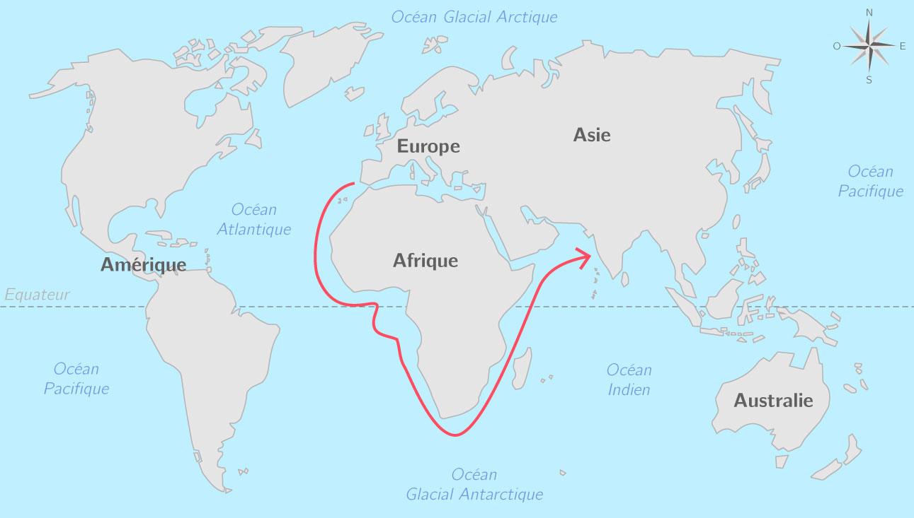 Vasco de Gama rejoint l'Inde par la mer en contournant l'Afrique (1498)