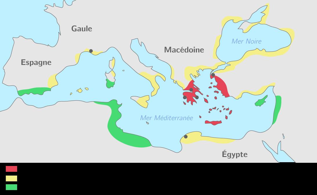 Compléter la carte du monde grec du VIIIe au VIe siècle   Exercice