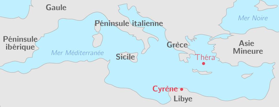 Théra et Cyrène : localisation dans la Méditerranée antique