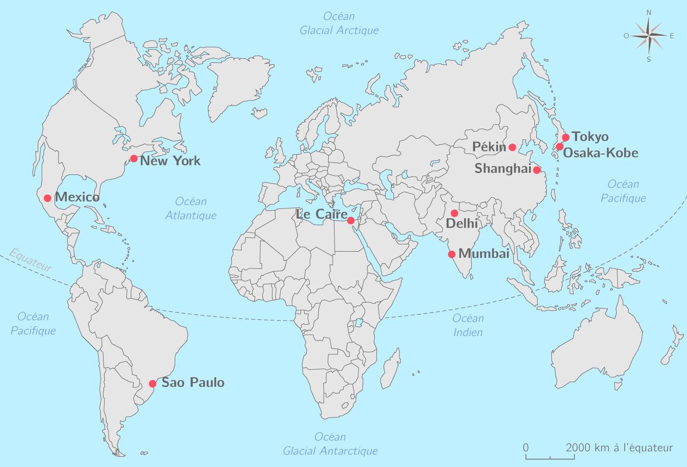 Les dix plus grandes métropoles mondiales   Carte Géographie