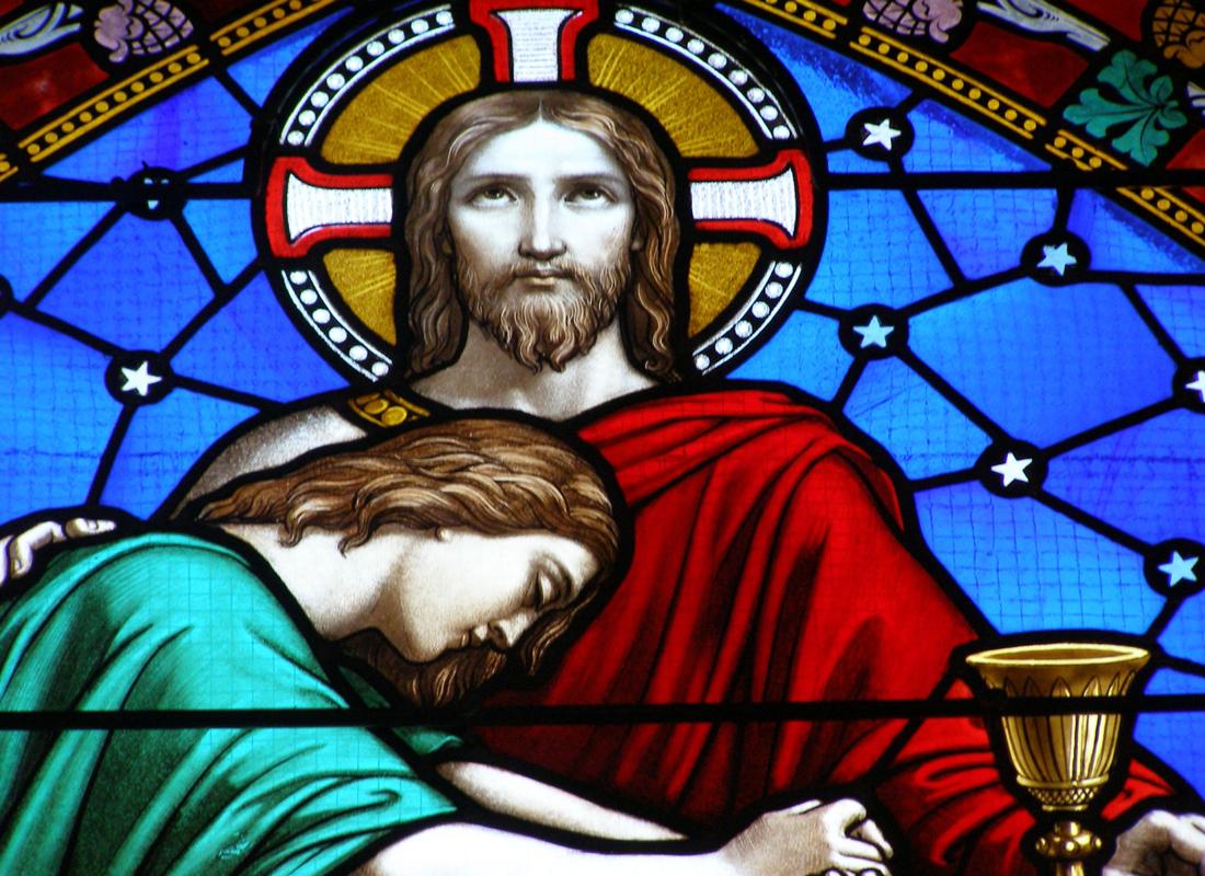 Vitrail représentant Jésus lors de la Cène